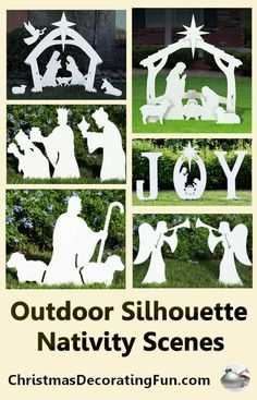 Outdoor Silhouette Nativity Scenes - Outdoor Nativity Sets really add a lot to your outside Christmas decorations. Outdoor lighted nativity scenes affirm your faith and help to remind all who see them of the reason for the season. Outside Christmas Decorations, Christmas Yard Art, Christmas Wood Crafts, Christmas Nativity, Outdoor Christmas, Christmas Projects, Christmas Diy, Christmas Ornaments, Christmas Bells