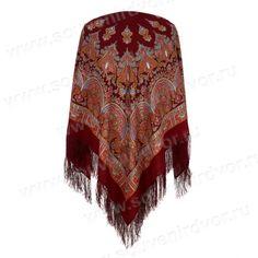 павлопосадский платок Волшебный танец красный