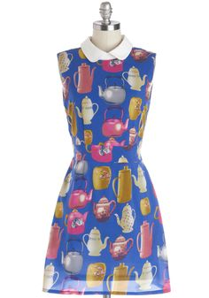 Brew Up Some Style Dress | Mod Retro Vintage Dresses | ModCloth.com blue teapot print