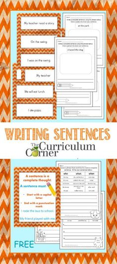 Sentence Writing Collection FREE from The Curriculum Corner | This is a HUGE collection of resources! Great for 1st and 2nd grades.