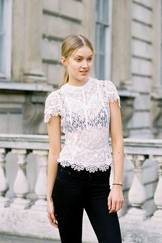 Lace outside during London FW.