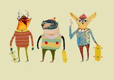 The Skateboarders - Decor for Kids rooms| Nursery Wall Art| Children's Art Prints| Kids Wall Decor| Owl art and Decor|