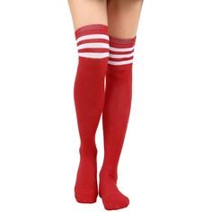 a8b01213d Amazon.com  Thigh High Socks Women s Retro Striped Long Knee High.