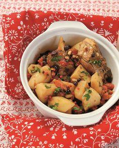 KATSIKAKI STAMNAS-mikri Greek Recipes, Meat Recipes, Healthy Recipes, Potato Salad, Food Porn, Food And Drink, Menu, Chicken, Cooking