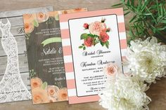 This image features beautiful designs from our designers:  Pretty Fancy Invites, http://lemonleafprints.com/bridal-shower-invitation-beautiful-rustic.html   Jamene Designs, http://lemonleafprints.com/wedding-invitation-rustic-wood-peach-and-green-watercolor-flowers.html