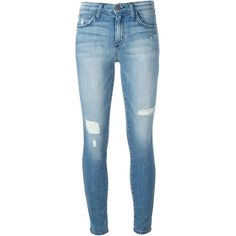 Current/Elliott distressed skinny jeans ($170) ❤ liked on Polyvore featuring jeans, pants, bottoms, blue, ripped jeans, skinny jeans, destructed jeans, ripped skinny jeans and torn jeans