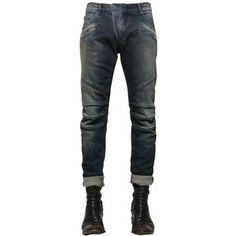 Pierre Balmain Men 16.5cm Biker Washed Stretch Denim Jeans
