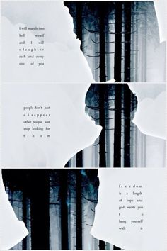 Dean : I will march into Hell myself and I will slaughter each and every one of you. ~  Sam : People don't just disappear, other people just stop looking for them. ~  Cas : Freedom is a lenght of rope and God wants you to hang yourself with it.