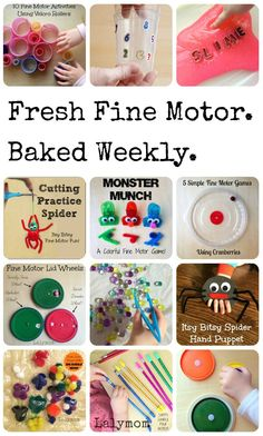 Come browse the Fine Motor Fridays Page on Lalymom for a fresh, fun fine motor skills activities! This weekly series offers lots of playful, creative ideas for infants, toddlers, preschoolers and bigger kids too!