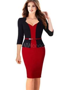 Women's Bodycon Dress Black Red 3/4-Length Sleeve Fake Two-Piece Sheath Dress With Sash-No.2 ~ milanoo.com ~