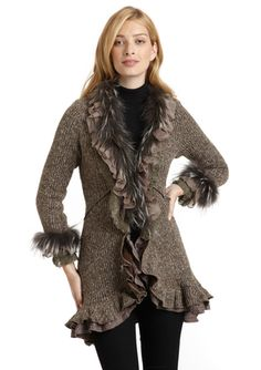 DOLCE CABO Ruffled Sweater Coat