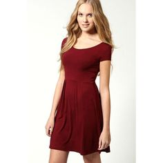 Boohoo Basics Claudia Jersey Cap Sleeve Skater Dress ($16) ❤ liked on Polyvore featuring dresses, berry, skater dress, boohoo dresses, red skater dress, cap sleeve skater dress and round neck dress