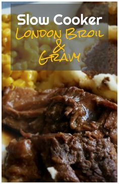 Slow Cooker London Broil Gravy I dont think Ill ever have it any other way after this It makes incredible hot beef sandwiches as leftovers too Crockpot Dishes, Crock Pot Slow Cooker, Crock Pot Cooking, Beef Dishes, Slow Cooker Recipes, Crockpot Recipes, Cooking Recipes, Roast Recipes, Steak Recipes