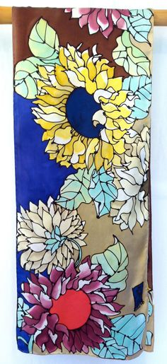 Hand painted silk scarf from Takuyo on Etsy.