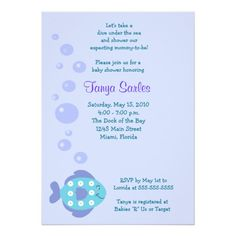 Little Fishy Ocean 5x7 Baby Shower Invitation