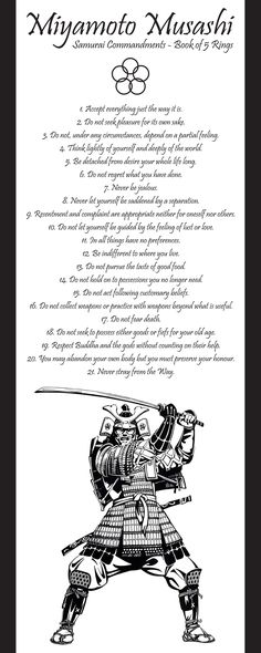 Samurai Commandments - Book of 5 Rings <<<No.19 is very important for Jews/Christians/Muslims of today