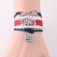 >> Click to Buy << Little Minglou Infinity Love Giants bracelet sport football team Charm wax leather wrap men bracelet & bangles for women jewelry #Affiliate
