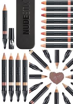 "NUDESTIX ~~~ nudestix is a streamlined collection of neutral-toned makeup ""stix"" that can be used interchangeably on skin, eyes, lips, and cheeks. [makeup gear]"
