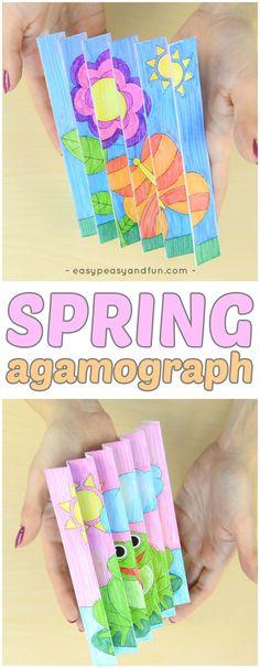 Printable Spring Agamograph Template Craft for Kids #springcrafts #papercrafts #craftsforkids