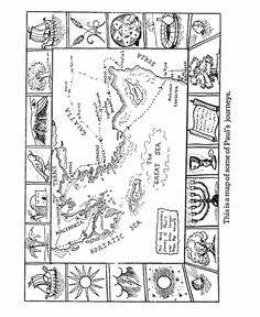 Bible Printables - Apostles Coloring Pages - Old Testament - 16 Bible Games, Bible Activities, Sunday School Lessons, Sunday School Crafts, Paul's Missionary Journeys, Bible Coloring Pages, Coloring Sheets, Coloring Book, Bible Mapping