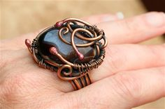Copper Wire Wrapped & Woven Druzy Ring - Media - Jewelry Making Daily