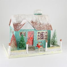 Kitsch House with Reindeer | Retro Glitter Putz Christmas House - The Holiday Barn