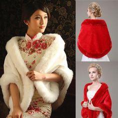 New Ivory Red Faux Fur Jacket Wrap Shrug Bolero Shawl Cape Bridal Wedding White Faux Fur Jacket, Lace Jacket, Wedding Jacket, Wedding Shawl, Red Fur, Chiffon, Ideias Fashion, Coat, Ivory White