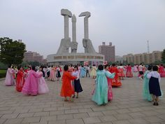 Practising for Mass Dance by the Monument to Party Foundation in the DPRK (North Korea)