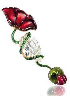 A Tourmaline and Diamond Poppy Brooch, by JAR, 1982