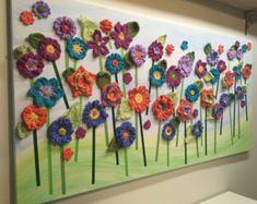 Watch The Video Splendid Crochet a Puff Flower Ideas. Wonderful Crochet a Puff Flower Ideas. Flower Canvas Art, Flower Wall, Crochet Puff Flower, Crochet Flowers, Crochet Wall Art, Crochet Leaf Patterns, Easy Crochet Projects, Crochet Ideas, Yarn Flowers