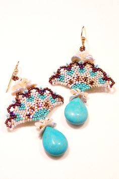 Egytpian Lotus Art Deco Fan Earrings with Turquoise Briolettes and Keshi Pearls June Birthstone OoaK Turquoise Earrings. $248.00, via Etsy.
