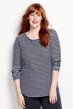 Women's Starfish Slub Pullover Top - Stripe from Lands' End