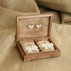 Scatola personalizzata anello nuziale. Scatola anello di legno rustico. Anello nuziale titolare.