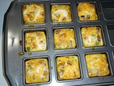 Mini Omelets in Pampered Chef's Brownie Pan! So many good recipes for this pan!  www.pamperedchef.biz/susanigel