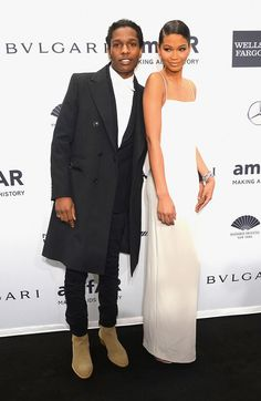 A.S.A.P Rocky and Chanel Iman at the 2014 amfar New York Gala Dinner