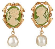 Dolce & Gabbana Pearl-embellished cameo clip-on earrings