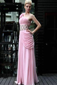 2014 New Style One Shoulder Beading Waistband Chiffon Floor Length Evening Dress