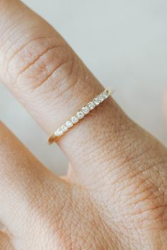 Good Stone // French Pave wedding band aka stackable ring in yellow gold!