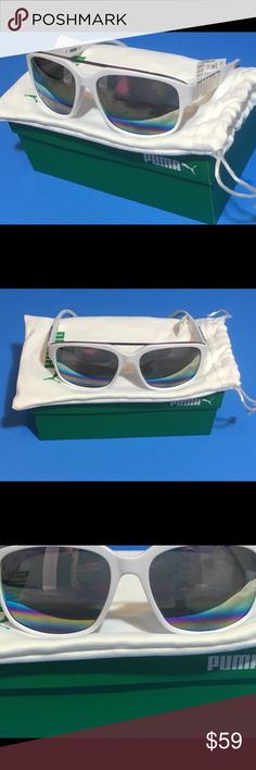 Puma Rectangular Plastic Mirrored Sunglasses NWT These brand new gorgeous rectangular plastic Puma sunglasses are brand new with tags, carrying bag and box! MSRP $129, Purchased for $79. Puma Accessories Sunglasses