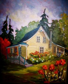 Peinture - medium Huile - Louise Giroux Artist Painting, House Painting, Painting & Drawing, Watercolor Paintings, Art Paintings, Easy Watercolor, Watercolor Landscape, Landscape Paintings, Cute Cottage