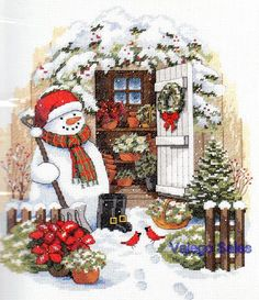 Dimensions Counted Cross Stitch Kit GARDEN SHED SNOWMAN