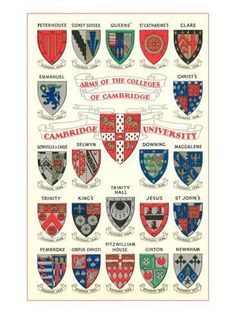 Inch Print - High quality print (other products available) - Coats of arms of colleges at Oxford University Date: - Image supplied by Mary Evans Prints Online - Photo Print made in the USA Cambridge University Colleges, Cambridge College, Hogwarts, Poster Prints, Art Prints, Posters, Affordable Wall Art, Coat Of Arms, Postcard Size