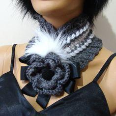 Christmas Gift Gray Neckwarmer Chunky Scarf Crochet by RoseAndKnit