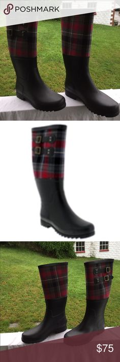 Ugg rain boots Very attractive plaid Ugg rain boots. Mostly rubber with Red gray black & white plaid at the top. Brand new in original box with all new packaging and if they came with inserts, insert will be in there also. UGG Shoes Winter & Rain Boots