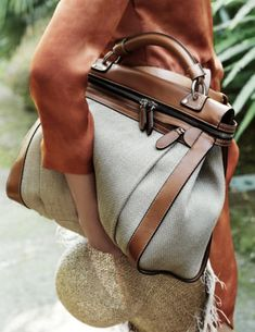 Canvas/linen and leather bag, Fratelli Rossetti