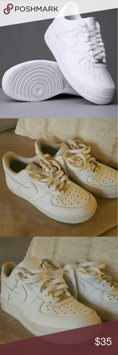 Men's Nike Air Force 1's Worn but still in pretty good condition- men's size 5 or women's size approximately 6.5. No creases as shown in picture!! Nike Shoes Sneakers