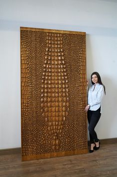Panels on the wall. To decorate the interior, our client chose a large decorative panel imitating crocodile skin. Material - solid oak. Finishing - toning + varnish. Indie Art, Crocodile Skin, Wall Units, Decorative Panels, Postmodernism, Tile Patterns, Wooden Doors, Solid Oak, Wood Art