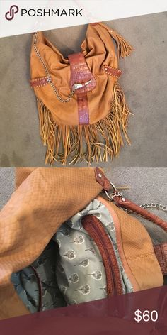 Bag Fringe bag with leather and silver chain never worn Bags Shoulder Bags