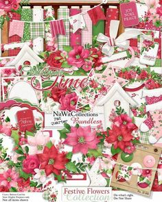 A vintage feel digital Christmas kit with all the sights of Christmas florals!  Poinsettias, holly and mistletoe all set in wonderful pink and red hues will be sure to inspire your next creative project!  Festive Flowers Collection from Nitwit Collections #digitalscrapbooking #cardmaking