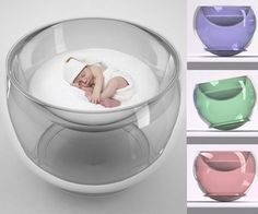 This wonderfully cute modern rocking crib is made of lightweight acrylic plastic coated with a special Eco-friendly polymer that repels dirt and scratches, making it easy to clean with a soft cloth and safe for baby. Available in four colors, it has an anti-bacterial, hypo-allergenic and odor resisting buckwheat hull-filled mattress of pure wool.